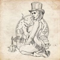 New years / January sketch pinup girl by benke33