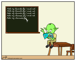 Young Yoda in Detention by Erdling26