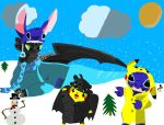 Stitch,Toothless,Pikachu by Tiger59