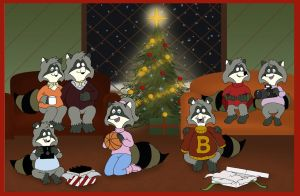 Raccoons Christmas by KrDoz