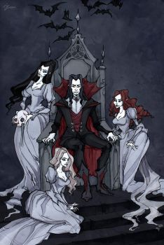 Dracula And His Brides by IrenHorrors