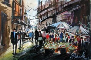 Flowers market in watercolor by ricardomassucatto
