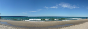 pictured rocks and miners falls beach panorama by slaysomezombies