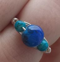 Wire Wrapped Bead Sky Inspired Ring by DruidOfTheValeDesign