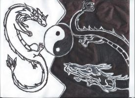 Yin Yang Dragons by KeyboardingChihuahua