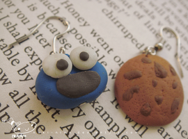 Cookie Monster Earrings by nuki-nina