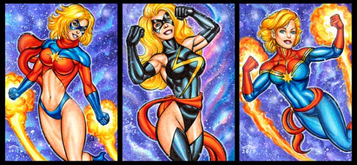 MS MARVEL PERSONAL SKETCH CARDS by AHochrein2010
