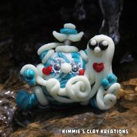 Polymer Clay Robot  I Love Octopuses by KIMMIESCLAYKREATIONS