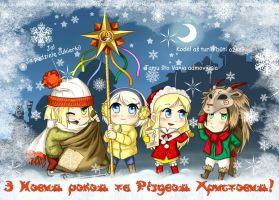 Hetalia FanArt: Merry Christmas and Happy New Year by AtreJane