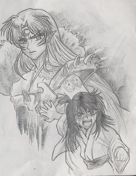 Rin Protects Sesshomaru, Inuya by AmberPalette
