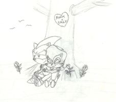 Sonic and Sally under a tree by RyanEchidnaSEAL