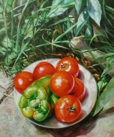 tomatoes and green pepper by bastienmillan