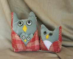 Pink and Blue Plushie Owl Trio by nondecaf