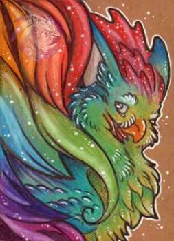 Rainbow Cockatrice ACEO by Idlewings