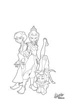 Fire Nation Gals Line Art by donovanscherer