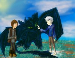 Hiccup, Jack, and Toothless by HezuNeutral