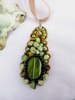 Soutache pendant green and orange by Mirtus63