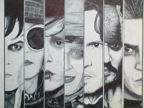 Johnny Depp. Black BIC pen. by valakh