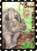 Indonesia Stamp Set - Javan Rhinoceros by aconite-pawlove