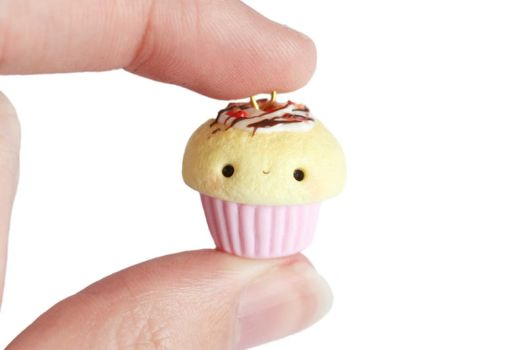 Chocolate Strawberry Cupcake Charm- Polymer Clay by xoxRufus