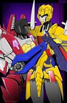 Commission: Starscream and Metalhawk by justabitscrewy