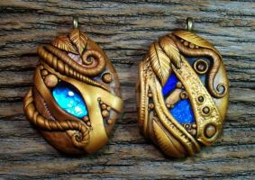 Golden Sands Polymer Clay Pendant Pair by MandarinMoon