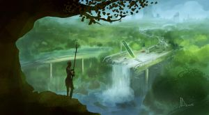 Speed Paint 30- Waterfall by AnthonyDevine