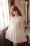 Long-Sleeve Button-Front Lace Dress-L2038C by littlepawfashion