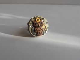 Steampunk Ring with mechanical owl by SteamJo