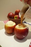 Vanilla Ice Cream in Apple Cups and Caramel Sauce by tracylopez