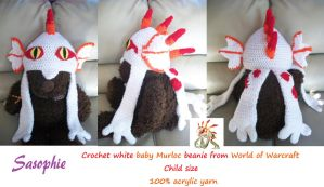 White baby Murloc beanie FOR SALE by Sasophie