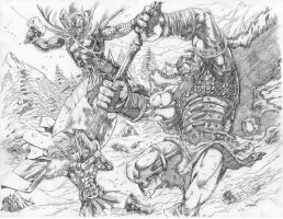 Asrgardian Vs. Frost Giants by jcfabul