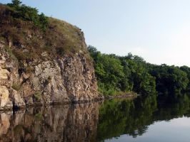 Stock Photo - Cliff Above a River #1 by croicroga