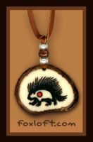 Porcupine Totem Tagua Pendant by Foxfeather248
