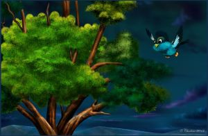 Fast Flight To The Big Tree(Painting) by chamirra