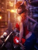 Cute Redhead Devil Girl and Motorcycle, Pin-Up Art by shibashake