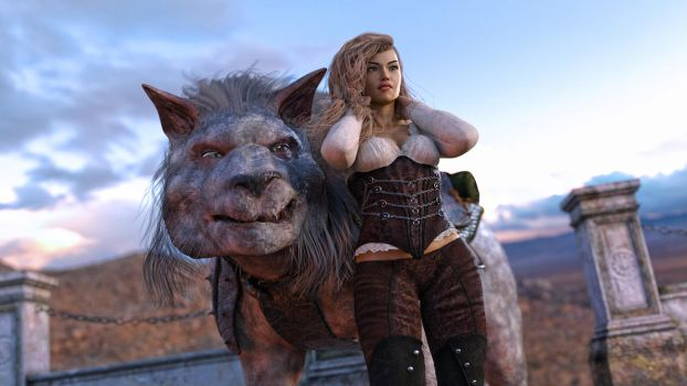 Woman and Wolf on the Moors by armieri