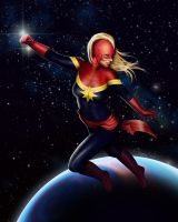 Captain Marvel - In Flight by lilyinblue