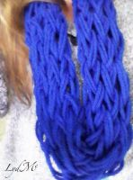 Arm Knitting Tardis Blue Infinity Scarf by LydMc