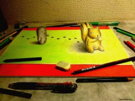 3D Drawing - The encounter in squirrel by NAGAIHIDEYUKI