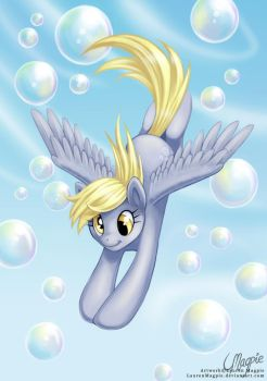 Flying Through Bubbles by LaurenMagpie