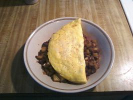 Omelet with Home made Hash browns by Rapid-Star