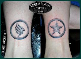 My Mass Effect Paragon/Renegade Tattoos by Dominiquefx