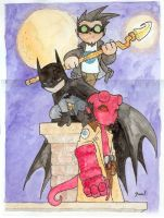Chibi-Hellboy, Batman and... by hedbonstudios
