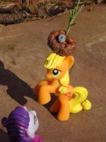Applejack Models Rarity's Newest Giant Hat by Maggie-X-Awesomeness