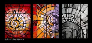 stained glass triptych by dushky