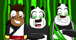 A human and 2 pandas by Africa2000