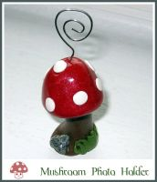 Mushroom Photo or Card Holder by softbluecries