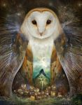 Owl, Mountain, Moon by meluseena