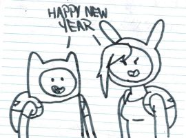 Finn and Fionna wishes Happy New Year by MarcosPower1996